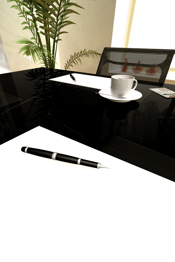 office table with contract to be signed - made in 3d